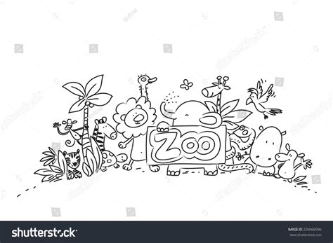 Drawing Zoo by Zoo Animals Vector Illustration Line Stock Vector