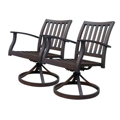 Patio Furniture With Swivel Chairs Shop Allen Roth Set Of 2 Gatewood Brown Slat Seat Aluminum Swivel Rocker Patio Dining Chairs