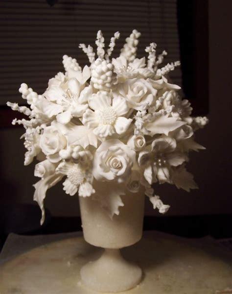 wedding cake topper sugar vase with sugar paste and royal