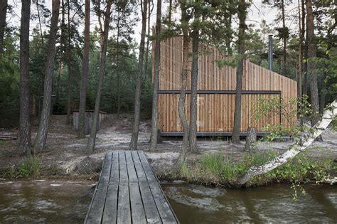 sea arch cabins lake cabin fam architekti feilden mawson archdaily