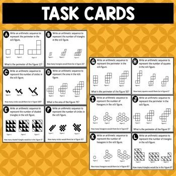 writing pattern cards writing arithmetic sequences from patterns task cards by