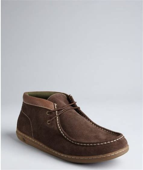 penguin chukka boots original penguin chocolate suede and pebbled leather wally