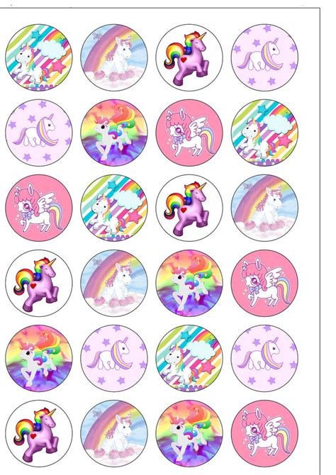 Home Decorations Diy by 24 Edible Precut Cute Rainbow Unicorn Wafer Paper Cupcake