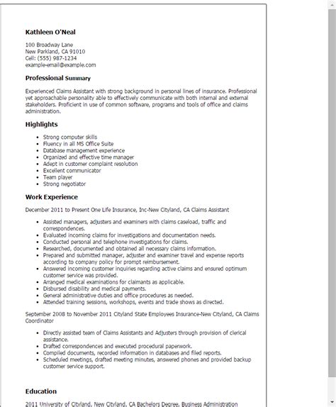 Claims Associate Description professional claims assistant templates to showcase your talent myperfectresume