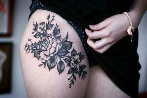 black and white rose thigh tattoos right thigh black and white flower
