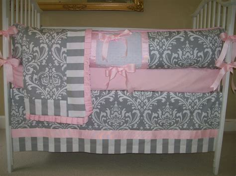 Pink And Grey Crib Bedding Sets by Grey And Pink Baby Bedding Set