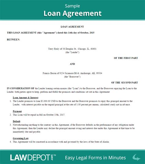 Loan Agreement Template Us Free Loan Contract Lawdepot Free Business Loan Agreement Template