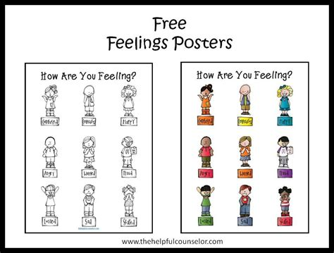 free printable emotions poster free feelings poster and coloring page feelings therapy