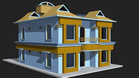 3d model 3d house building vr ar low poly cgtrader
