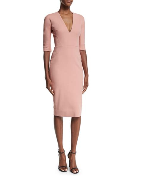 Beckham Sell Outs A Dress Before It Hits The Shop Floor by Beckham Half Sleeve V Neck Sheath Dress Blush
