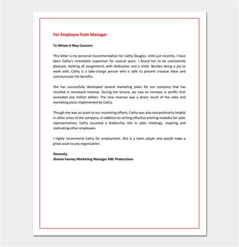 Letter Of Recommendation For Unknown Recommendation Letter For Promotion Free Sles Formats