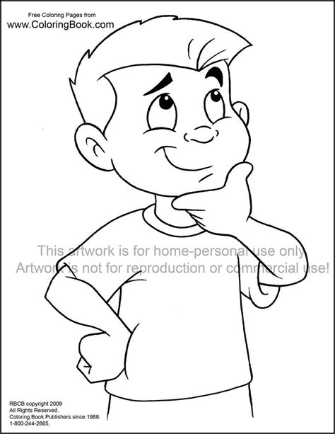 coloring page of boy thinking thinking coloring download thinking coloring