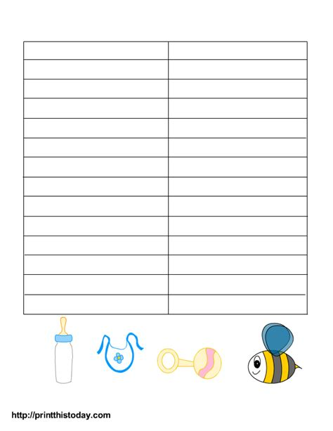 memory template free printable baby shower