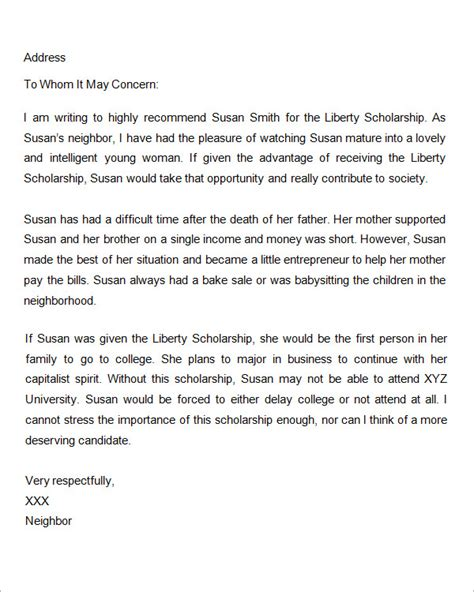Scholarship Letter Of Recommendation Sle Sle Letter Of Recommendation For Scholarship 29 Exles In Word Pdf