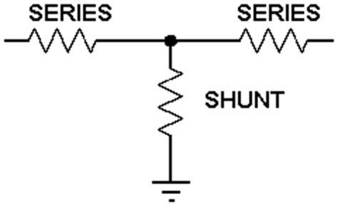 shunt resistor attenuator t attenuator calculator