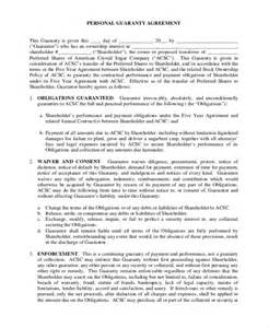 personal guarantee form template doc 460595 personal guarantee form personal guarantee