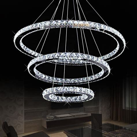 Chandelier High Ceiling by Modern Ring Chandelier Lustre Cristal K9 High Ceiling Chandeliers Led