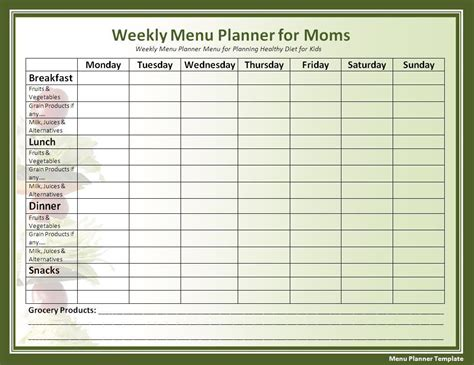 printable diet menu planner cycle menu template menu planner template free