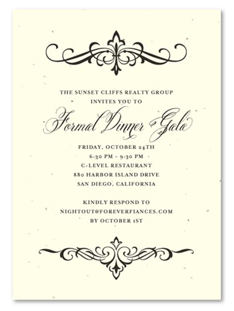 posh invitation template financial invitations on seeded paper