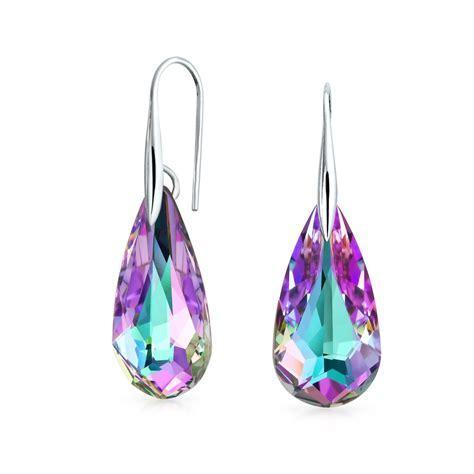 Sterling Silver Crystal Briolette Teardrop Dangle Earrings