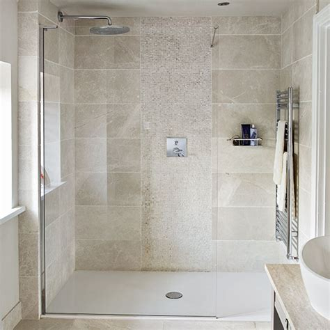 bathroom room ideas neutral stone tiled shower room decorating ideal home