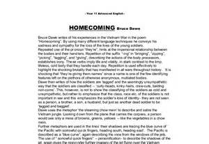 Bruce Dawe Essay by Homecoming By Bruce Dawe A Level History Marked By Teachers
