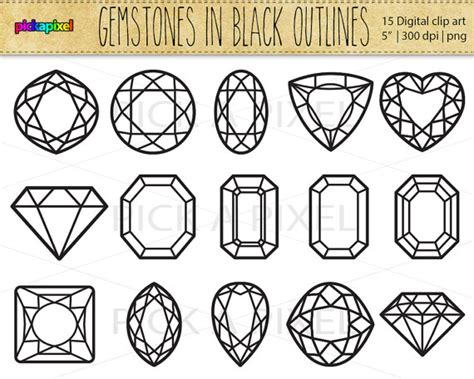 gemstones diamonds in black outlines digital clip by