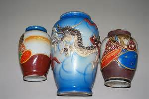 three japanese small vases two quot occupied japan quot one