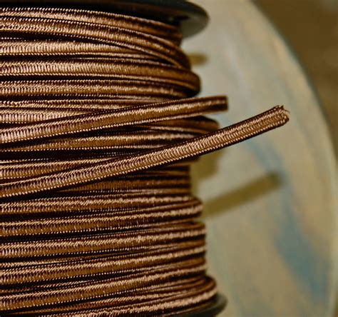 6 Feet Brown Rayon 2 Wire Cloth Covered Cord Vintage