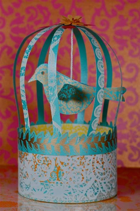 Paper Bird Cage Craft - paper bird and cage