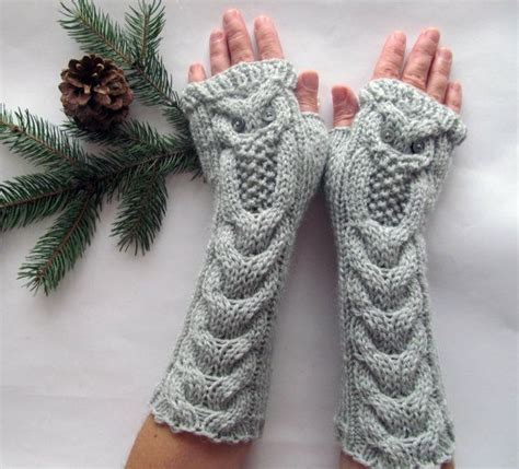 owl oatmeal long hand knit cable pattern fingerless gloves 62 best images about handschuhe stulpen on pinterest