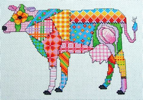 Patchwork And Stitching - cross stitch patchwork cow pdf instant pattern
