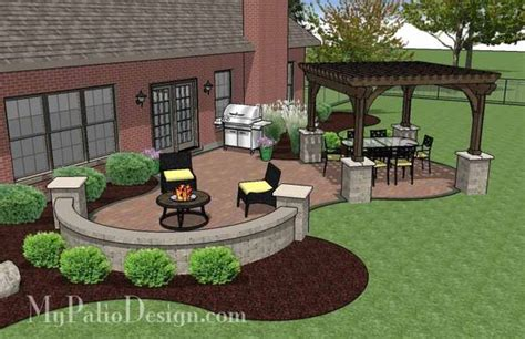 Concrete Patio Designs Layouts The Concrete Paver Patio Design With Pergola Features Large Circular Areas For Outdoor Dining