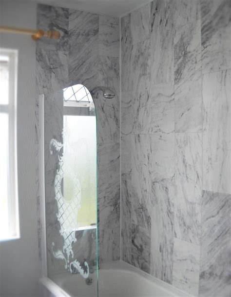 White Pvc Cladding For Bathrooms by Pvc Bathroom Cladding Grey Marble Tile Enviroclad