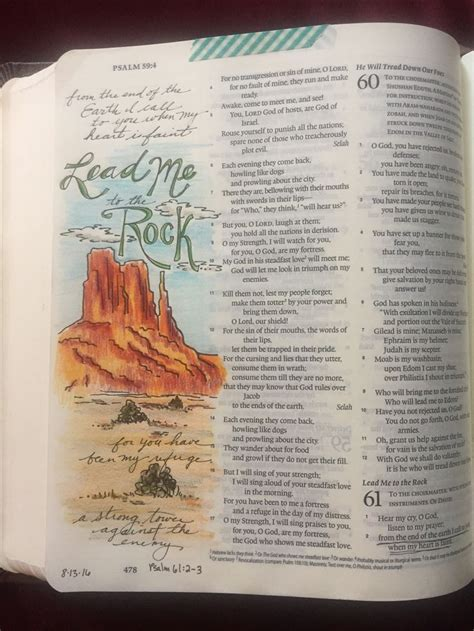 Psalm 61 2 3 Lead Me To The Rock Bible Journaling