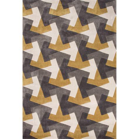 geometric patterned runner rug jaipur rugs modern geometric pattern gray yellow polyester