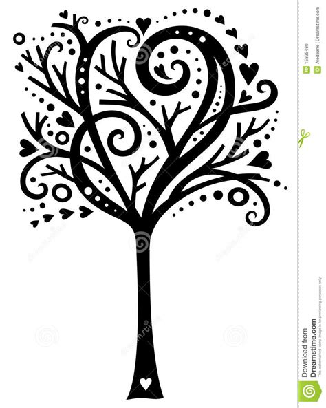 whimsical tree of love stock vector image of swirly