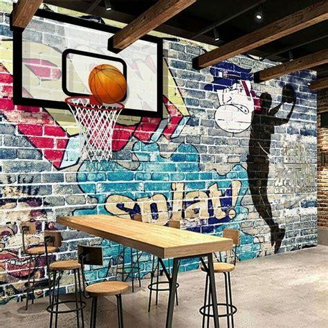 details sur  basketball graffiti bar sportif mural