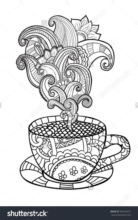coffee  tea cup zentangle style coloring page