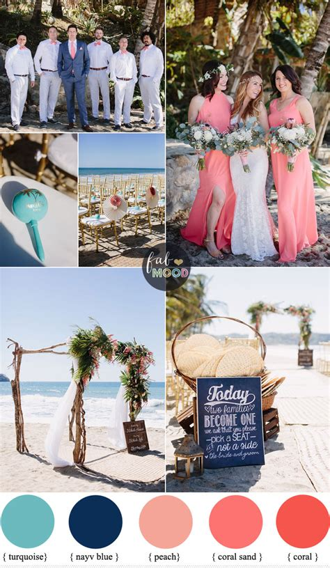colour themes for beach wedding coral navy blue and turquoise for a tropical beach wedding