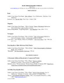 Mla Works Cited Template by Best Photos Of Standard Bibliography Format Books