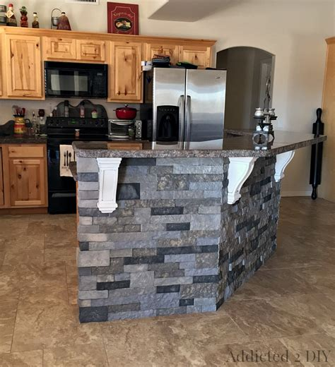 Diy Tile Backsplash Kitchen Before And After Diy Kitchen Island Makeover Addicted 2 Diy