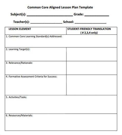 6 week lesson plan template sle common lesson plan common weekly lesson