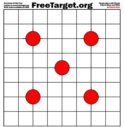printable grid shooting targets red 4 dot 1 inch grid target freetarget org free