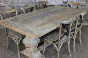 White Rustic Dining Table And Chairs Distressed Limed Elm Table White Washed Tuscan Base Dining