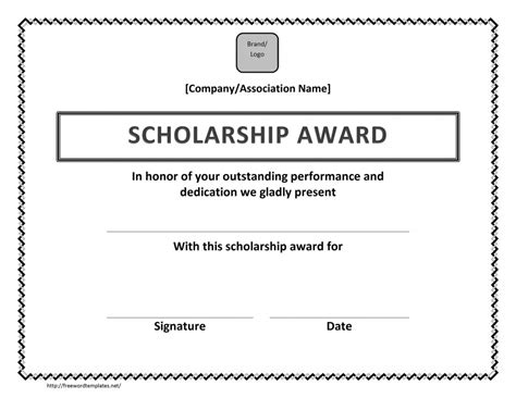 award templates word scholarship award certificate template