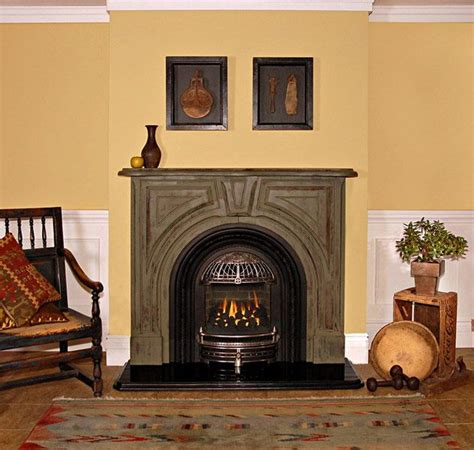 pictures of fireplace mantels used around cast iron