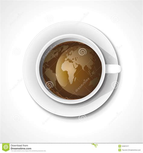 coffee cups around the worlds and coffee on pinterest world map in cup of coffee royalty free stock photography