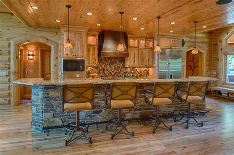 Unique Ranch Style House Plans by Refined Log Home Rustic Kitchen Other Metro By