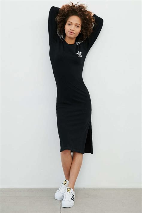 Dress Hodie Adidas adidas originals midi dress in black lyst